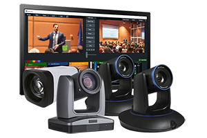 4-Camera StreamIT Live In-house Studio Recording Packages w/ 2-Tracking, 1-PTZ & 1-POV Camera