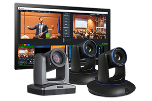 3-Camera StreamIT Live In-house Studio Recording Packages w/ 2-Tracking & 1-PTZ Camera