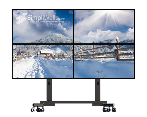 "Samsung 49"" 2 x 2 Mobile Video Wall Package - 500 nits 4K 24/7"